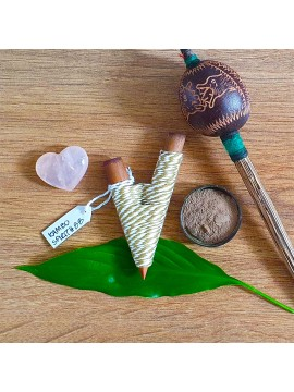 Kuripe Traditional Handmade Rapé Snuff Self Applicator Pipe Olive String